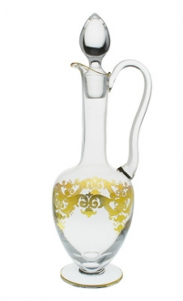 Wine Decanter with Handle with 24K Gold Artwork