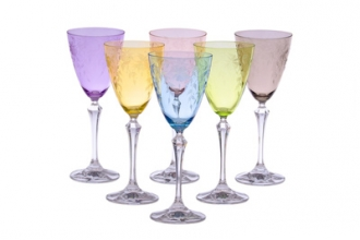 Set of 6 colored water glasses with artwork designs- 3.25D x 8.75H, 10 oz