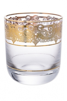 Set of 6 Short Tumblers with 24K Gold Design