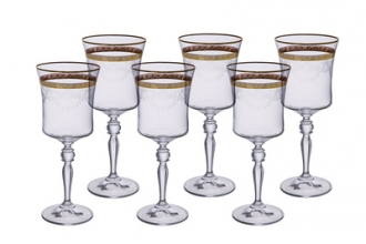 Set of 6 Water Glasses with 14K Gold Design