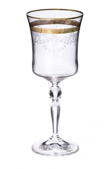 Set of 6 Wine Glasses with 14K Gold Design