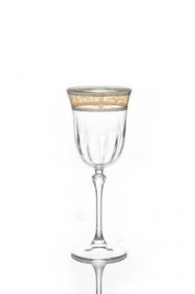 Water Glasses with Silver Amber Design- Set/6
