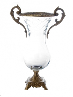 15 Glass Brass Vase-Clear