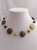 Multicolor and gold flat murano glass bead necklace