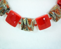 Red and Gold Square Murano Bead Necklace