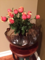 Large Royal Smoky Crystal Murano Glass Centerpiece Vase