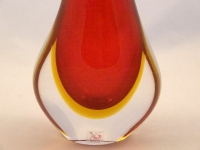 Murano Glass Red and Amber FiFi Vase