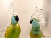 Murano Glass Aqua Gold Family Parrots with Green tail