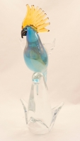 Murano Parrot Aqua Gold Open Wings