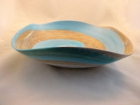Large Royal Aqua and Ivory  Murano Glass Centerpiece Bowl