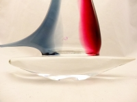 Smoke and ruby Murano Glass Sailboat Large