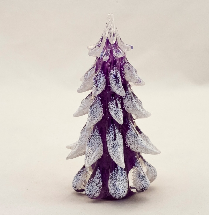 Purple Glass Snow Covered Christmas Tree  World Art Glass