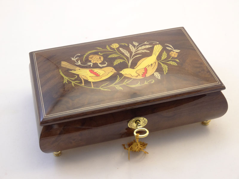 Burled Walnut High Gloss Music Box with Birds and Flowers Inlay