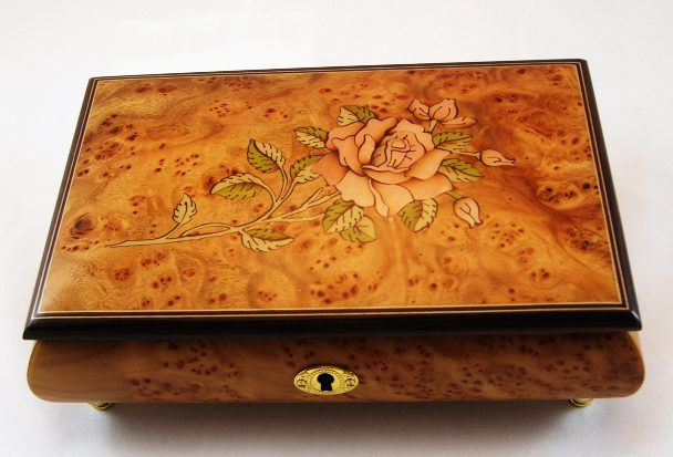 Rose Inlay Matte Bird's Eye Maple Musical Jewelry Box