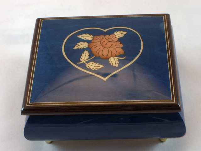 Sorrento dark blue with flower and a heart music box