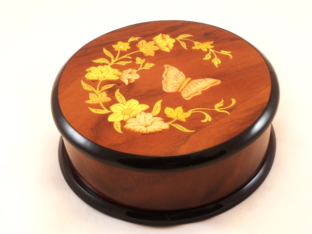 Round High Gloss Walnut Music Box