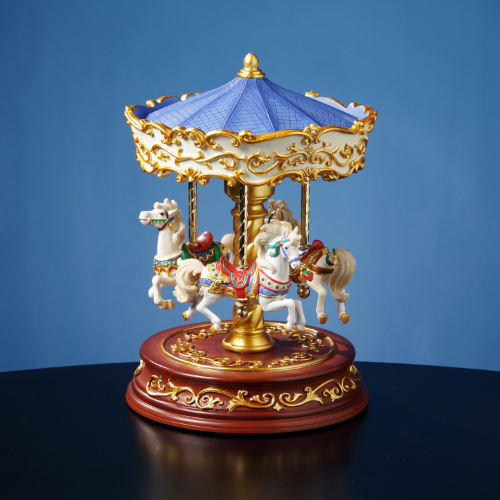 Heritage 3 Horse Rotating Carousel Collectible Musical