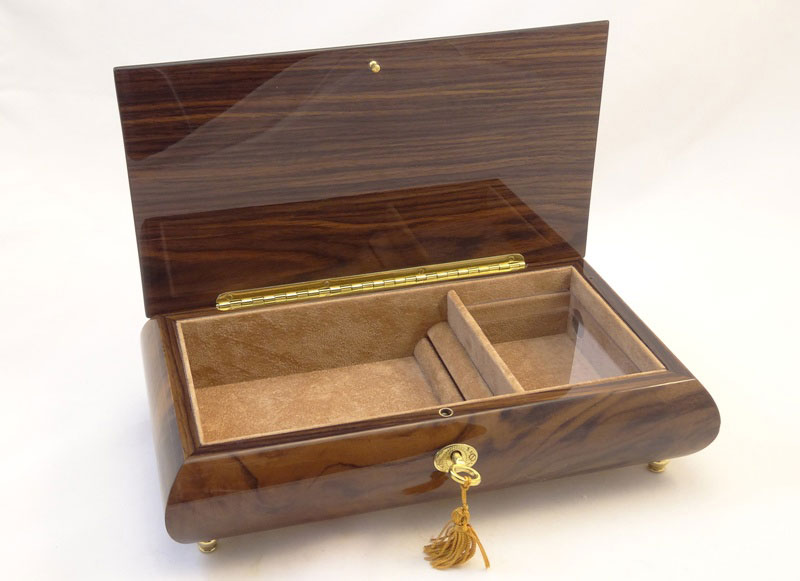 High Gloss Burlwalnut Jewelry Music Box with Floral Inlay