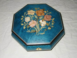 Octagonal Matte Dark Blue Music Box