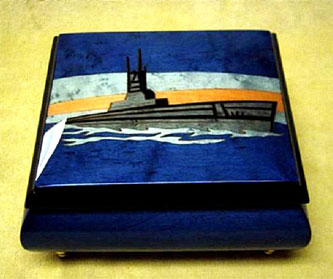 Warship inlay Sorrento small music box