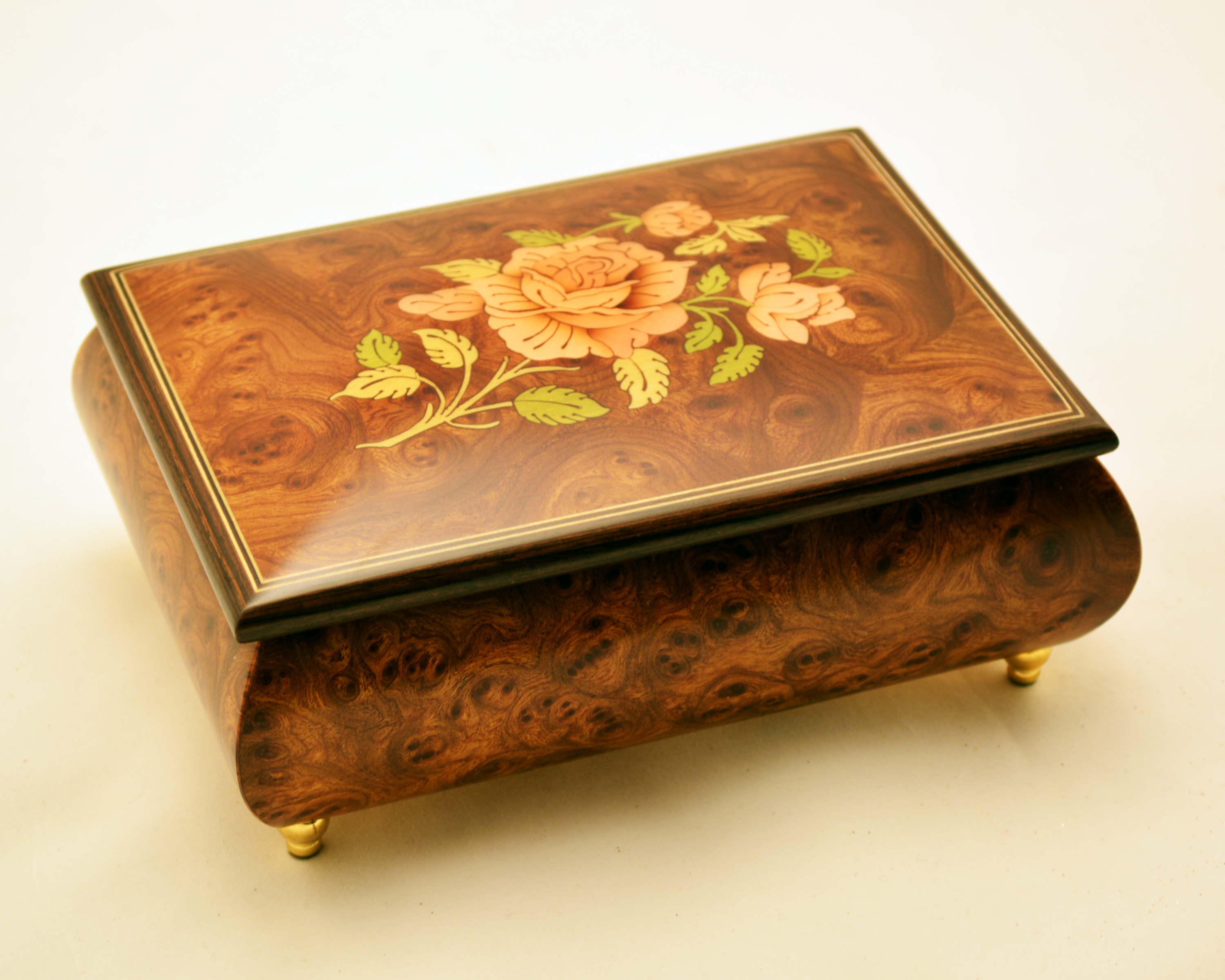 Rose Inlay Matte Burl Elm Musical Jewelry Box Sorrento Music Boxes