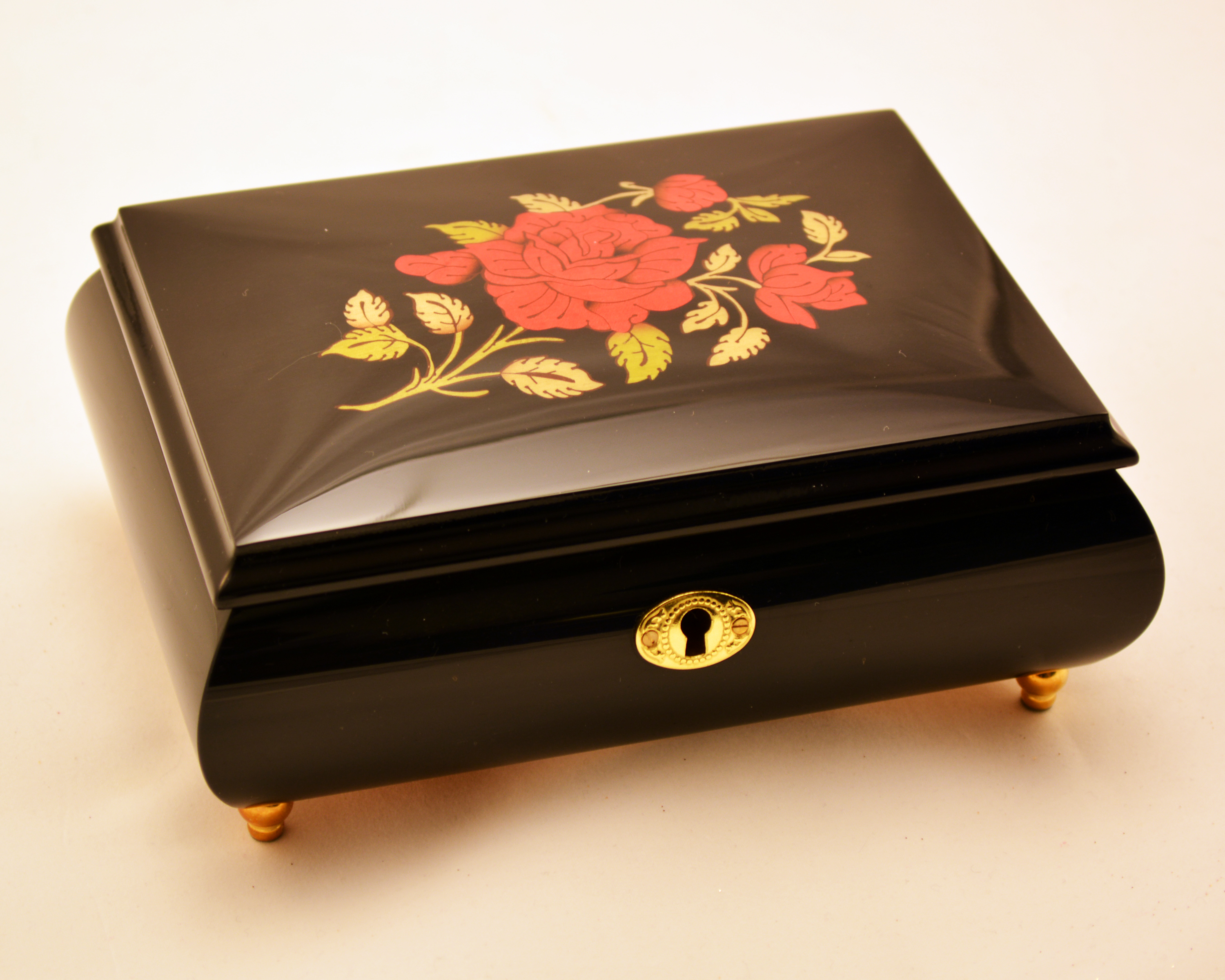Red Rose Black Lacquer music jewelry box Sorrento Music Boxes