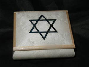 White Music Box w/ Blue Star of David