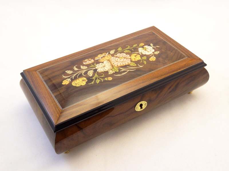 Burl Walnut High Gloss Jewelry Box with Bells Inlay