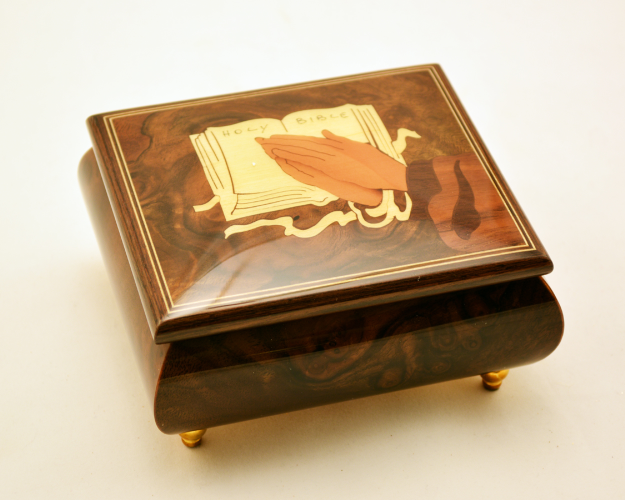 Christian High Gloss Burl Elm Music Box w/ Bible Prayer Inlay