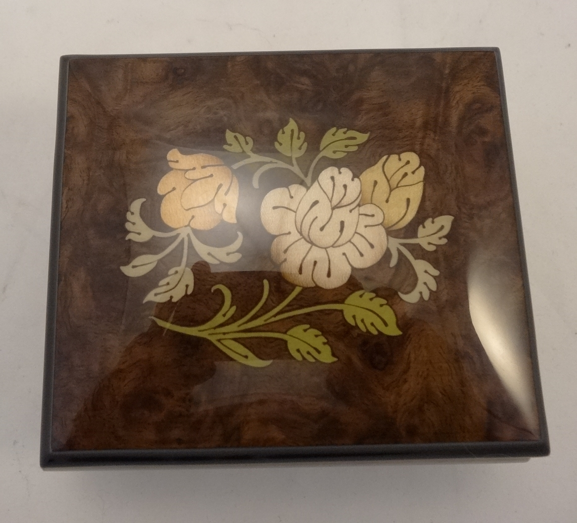 Burl walnut high gloss music box with flowers inlay