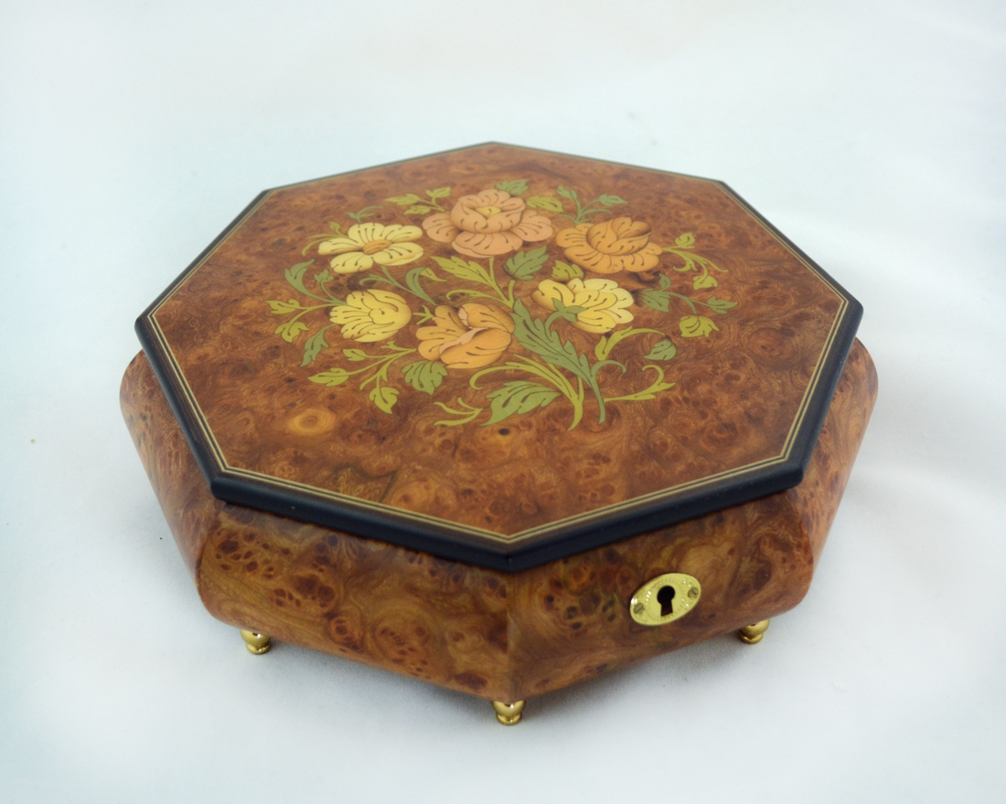 Octagonal Matte Large Jewelry Box Sorrento Music Boxes