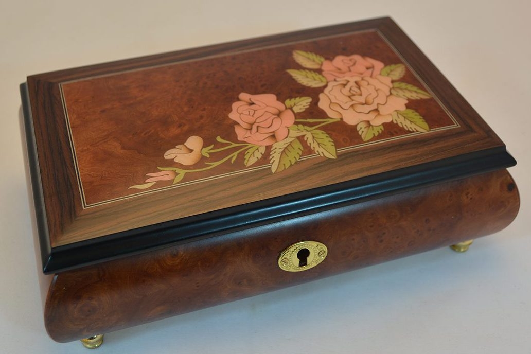 Roses Inlay Matte Burl Elm Musical Jewelry Box Sorrento Music