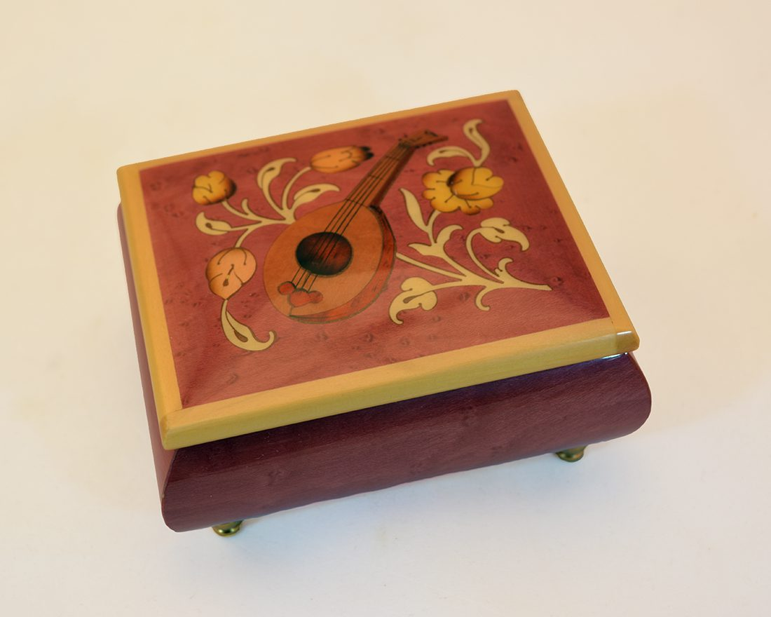 High Gloss Coral Red Music Box Mandolin Inlay