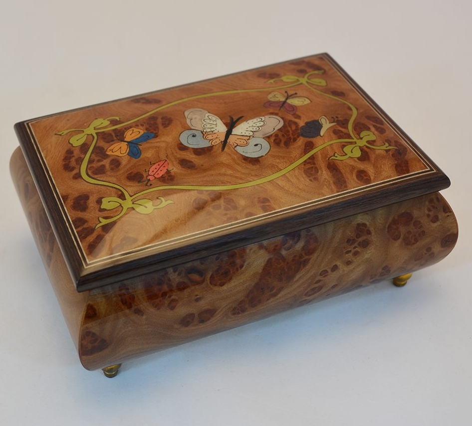 Nature Butterflies inlay Music Box