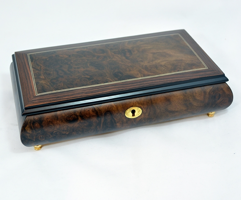 Ornamental Inlay Matte Finish Music Jewelry Box