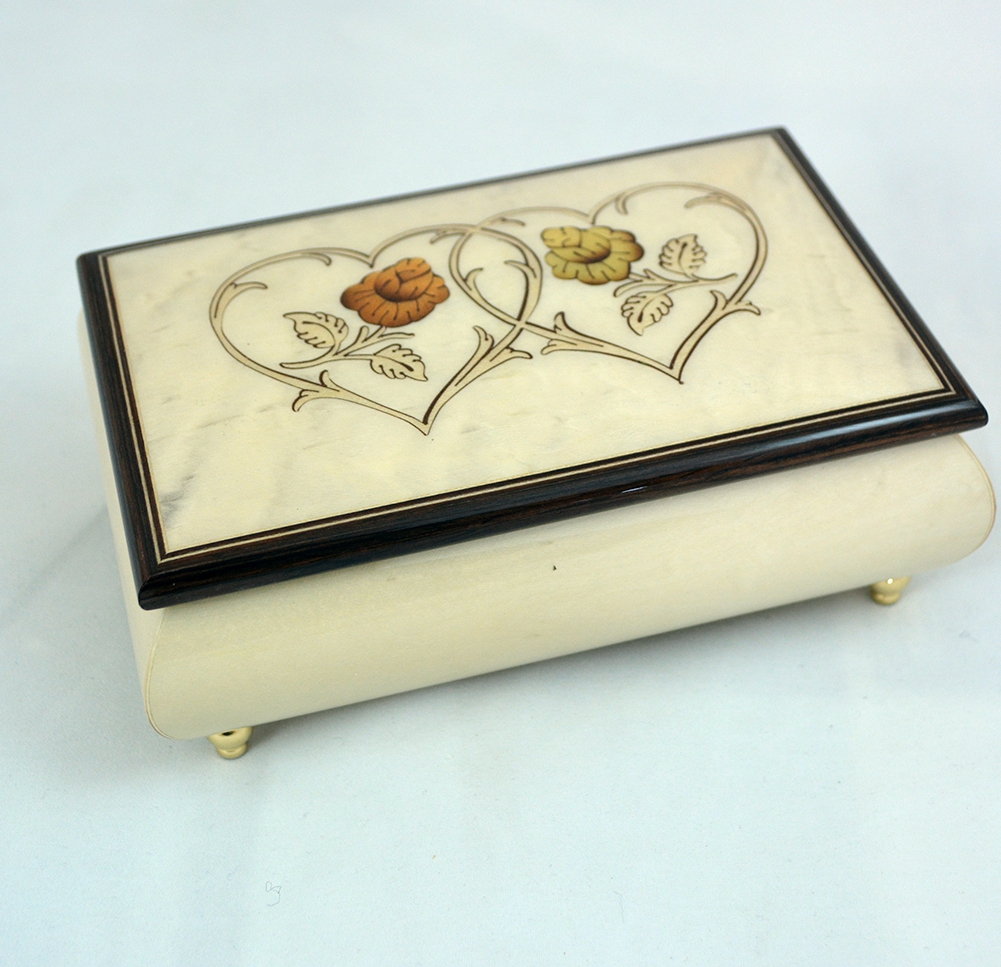 Heart Duo Creme Jewelry Music Box