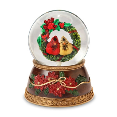 Cardinals in Wreath Water Globe