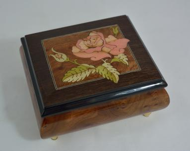 Inlaid Rose Burl Musical Jewelry Box