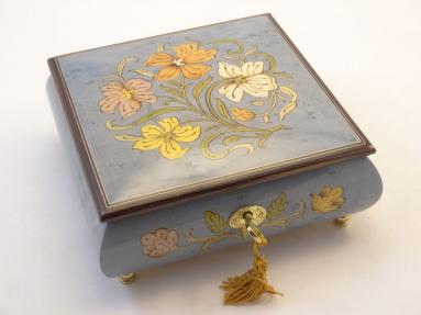 Light Blue High Gloss Floral Inlay Music box
