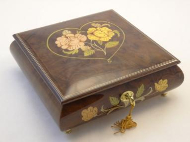 Romantic Large Burl Walnut Jewelry Music Box