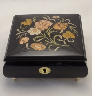 High gloss with flowers inlay music box black