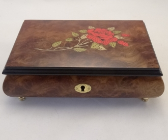Sorrento matte finish burl walnut with red rose music box