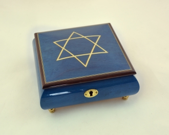 Blue Music Box with White Star of David
