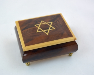 Burl walnut Music Box w/ Yellow Star of David