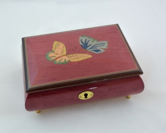Wine red butterfly music box