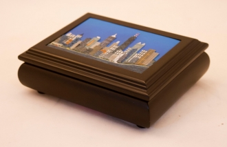 City Scene Hand Carved & Painted Music Box