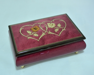 Heart Duo Wine Red Music Box