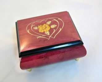Wine Red Heart Duo Music Box