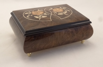 Two Hearts and Two Roses High Gloss Burl Walnut Music Box