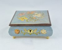 Aqua Green Floral Music Box
